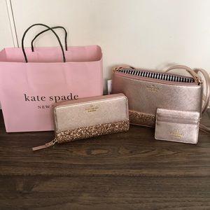 NWT kate spade rose gold purse set